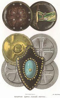 Простые щиты разной формы. Древности Российского государства..., отд. III, лист № 72, Москва, 1853.