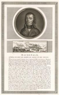 Этьен-Жан-Жозеф-Александр Макдональд (1765-1840) - участник революционных и наполеоновских войн, сторонник генерала Моро, герой Ваграма и маршал Франции (1809). При Бурбонах пэр Франции (1814) и кавалер Ордена Почетного легиона (1815). Париж, 1804