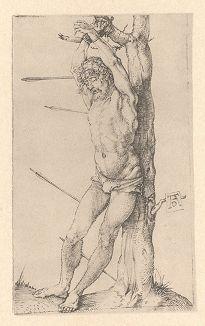 Святой Себастьян у дерева. Гравюра Альбрехта Дюрера, выполненная ок. 1500 года (Репринт 1928 года. Лейпциг)