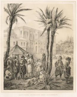 """Дворцовый караул египетской пехоты (из """"Путешествия на Восток..."""" герцога Максимилиана Баварского. Штутгарт. 1846 год (лист XIX))"""