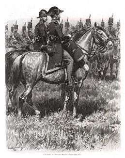 Ветеринар и военный медик французской армии в парадной форме образца 1855 года (из Types et uniformes. L'armée françáise par Éduard Detaille. Париж. 1889 год)