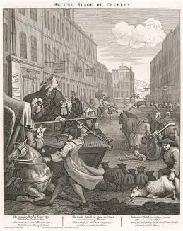 Вторая степень жестокости, 1751. Продолжение истории Тома Неро. Он уже взрослый. Загнав лошадь, Том бьет ее рукояткой хлыста. Вокруг царит ужасающая жестокость: мужик забивает овцу, телега переезжает ребенка, бык поднимает на рога человека. Лондон, 1838