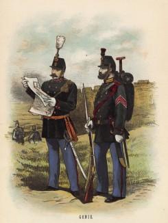 Офицер и унтер-офицер инженерных частей голландской армии (иллюстрация к работе Onze krijgsmacht met bijshriften... (голл.), изданной в Гааге в 1886 году)