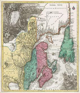 Карта восточной части Канады. Partie Orientale de la Nouvelle France ou du Canada.