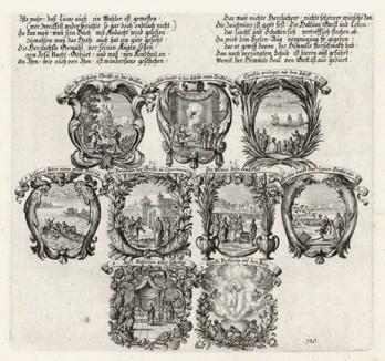 Девять сцен из Евангелия от Луки (из Biblisches Engel- und Kunstwerk -- шедевра германского барокко. Гравировал неподражаемый Иоганн Ульрих Краусс в Аугсбурге в 1700 году)