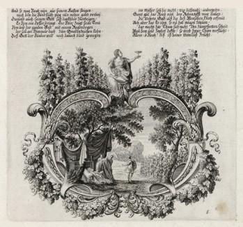 Кончина Ноя (из Biblisches Engel- und Kunstwerk -- шедевра германского барокко. Гравировал неподражаемый Иоганн Ульрих Краусс в Аугсбурге в 1700 году)