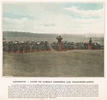 В траншеях. Боевые порядки взвода французской пехоты в обороне. L'Album militaire. Livraison №2. Infanterie. Serviсe en campagne. Париж, 1890