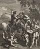 Дон Кихот, гравюра III, 1738. «Дон Кихот освобождает каторжников с галер». Дон Кихот, ведомый благородным порывом искоренить насилие, освобождает преступников, осужденных на галеры. Но рабы, получив свободу, побивают освободителя камнями. Лондон, 1838