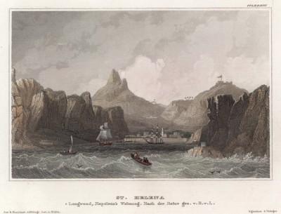 Вид на гавань острова Святой Елены. Гравюра на стали. Гейдельберг, 1840-е гг. Лист ССLXXXIII