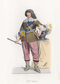 """Гастон, герцог Орлеанский (1608--1660), младший сын короля Генриха IV и Марии Медичи (лист 99 работы Жоржа Дюплесси """"Исторический костюм XVI -- XVIII веков"""", роскошно изданной в Париже в 1867 году)"""