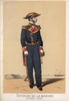 1860-е гг. Офицер военно-морского флота Испании в парадной форме (из альбома литографий L'Espagne militaire, изданного в Париже в 1860 году)