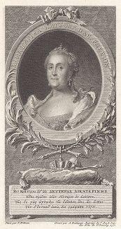 Портрет Екатерины II. С оригинала Вигилиуса Эриксена (1722 -- 1772 гг.)