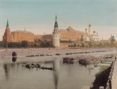 1900-е гг. Вид на Кремль с набережной Москвы-реки (крашенный вручную тиражный вариант фотографии Петра Павлова (1860--1925))