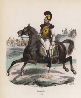 С донесением! (карабинер Великой армии в 1812 году) (из популярной работы Histoire de l'empereur Napoléon (фр.), изданной в Париже в 1840 году с иллюстрациями Ораса Верне и Ипполита Белланжа)