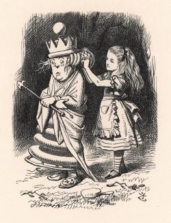 """""""Немудрено, -- сказала Алиса, осторожно поправив шаль. -- Ведь вы её прикололи всю на один бок!"""" (иллюстрация Джона Тенниела к книге Льюиса Кэрролла «Алиса в Зазеркалье», выпущенной в Лондоне в 1870 году)"""