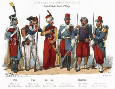 Униформа французских колониальных войск с 1798 по 1854 гг. Costumes de l'armée française depuis Louis XIV, jusqu'à nos jours, л.48. Париж, 1841