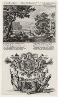 1. Клятва Ионафана в дружбе к Давиду 2. Давид указывает Саулу на край его одежды (из Biblisches Engel- und Kunstwerk -- шедевра германского барокко. Гравировал неподражаемый Иоганн Ульрих Краусс в Аугсбурге в 1700 году)