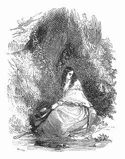 """Иллюстрация к рассказу """"Мейбл Марчмонт"""" известного британского поэта и писателя-романиста XIX столетия Томаса Миллера (1807 -- 1874 гг.) (The Illustrated London News №88 от 06/01/1844 г.)"""