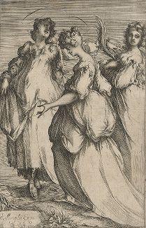 Три святые (Жены-мироносицы). Гравюра Жака Белланжа, ок. 1611-16 гг.