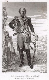 Луи Николя Даву (1770-1823), маршал Франции с 1804 года. Galerie des Marechaux de France par Ch. Gavard, Париж, 1839 год.