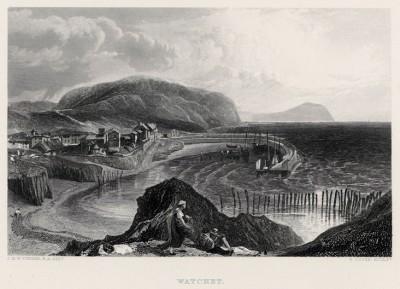"""Местечко Уотчет (лист из альбома """"Галерея Тёрнера"""", изданного в Нью-Йорке в 1875 году)"""