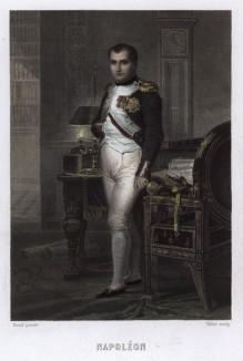 Наполеон в своем кабинете. Гравюра на стали по мотивам знаменитой картины Жак-Луи Давида. A.Thiers, Consulat et Empire, Париж, 1837