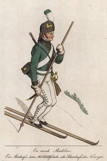 Норвежский лыжник-солдат. Norske Folkedrakter, л.6. Стокгольм, 1812