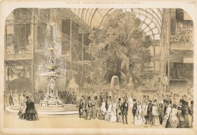 Внутренний вид здания лондонской всемирной выставки 1851 года (Русский художественный листок. N 27 за 1851 год)