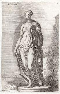 Знаменитая Флора Фарнезская. Лист из Sculpturae veteris admiranda ... Иоахима фон Зандрарта, Нюрнберг, 1680 год.