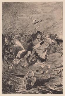 """Конный гунн (из """"Иллюстрированной истории верховой езды"""", изданной в Париже в 1891 году)"""