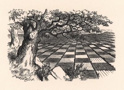 Несколько минут Алиса стояла, не говоря ни слова, -- только глядела на раскинувшуюся у ее ног страну. Это была удивительная страна (иллюстрация Джона Тенниела к книге Льюиса Кэрролла «Алиса в Зазеркалье», выпущенной в Лондоне в 1870 году)