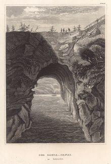 Гёта-канал в Швеции. Meyer's Universum, Oder, Abbildung Und Beschreibung Des Sehenswerthesten Und Merkwurdigsten Der Natur Und Kunst Auf Der Ganzen Erde, Хильдбургхаузен, 1839 год.