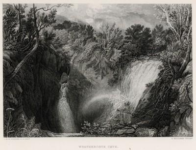 """Местечко Уезеркоут Кейв в графстве Йоркшир, Англия (лист из альбома """"Галерея Тёрнера"""", изданного в Нью-Йорке в 1875 году)"""