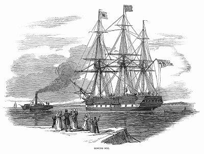 Отправление корабля британского флота с эмигрантами, представителями разных рабочих профессий на борту, в Сидней -- место первого колониального европейского поселения в Австралии (The Illustrated London News №102 от 13/04/1844 г.)