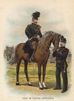 Голландия. Офицер и унтер-офицер полевой артиллерии (иллюстрация к работе Onze krijgsmacht met bijshriften... (голл.), изданной в Гааге в 1886 году)