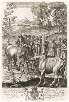 """О скотоводстве. Сюжет книги III """"Георгик"""" Вергилия. Лист подписного издания посвящён Чарльзу Ленноксу (1672--1723) -- внебрачному сыну короля Англии Карла II, 1-му герцогу Ричмонду, члену Ордена Подвязки"""