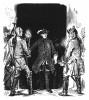"""Замок Лисса в ночь после битвы при Лейтене 5 декабря 1757 г. Король Фридрих II встречает австрийцев. Он спокойно обращается к вражеским офицерам: «Господа, вы меня не ждали? Можно здесь найти приют?"""" Geschichte Friedrichs des Grossen. 1842 г. Стр.366"""
