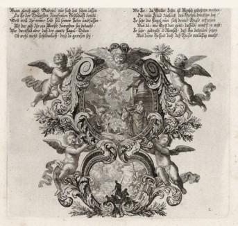 Рождество (из Biblisches Engel- und Kunstwerk -- шедевра германского барокко. Гравировал неподражаемый Иоганн Ульрих Краусс в Аугсбурге в 1694 году)