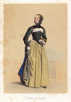 Барышня-студентка из кантона Ааргау. Сoutumes suisses dessinés d'aprés nature, par J.Suter. Париж, 1840
