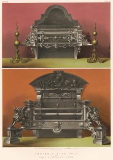 Огненные собаки (fire dogs (англ.)) -- металлические подставки для дров и каминные решётки от английских мастеров из Feetham & Co. (Каталог Всемирной выставки в Лондоне. 1862 год. Том 1. Лист 56)