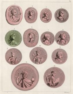 Печати императоров Священной Римской империи: 1. Печать Карла Великого 2. Печать Людовика I 3. Печать Лотаря I 4. Печать Карла II Лысого 5. Печать Людовика II