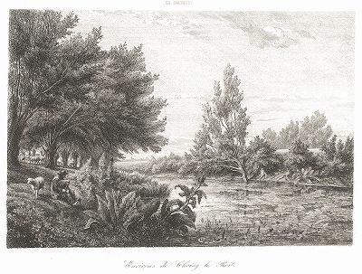 Окрестности Шуази. Офорт барбизонца Шарля Франсуа Добиньи.