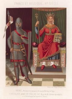 Рыцарь и королева (миниатюра из средневековой французской хроники) (из Les arts somptuaires... Париж. 1858 год)