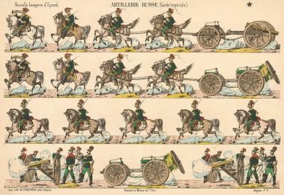 Русская гвардейская артиллерия. Nouvelle Imagerie d'Épinal. Artillerie russe (Garde Imperiale) (фр.). Эпинальская картинка. Париж, 1880-е гг.