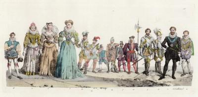 Король Франции Генрих IV Бурбон (1553--1610), его супруга Маргарита Французская Валуа (королева Марго (1553--1615)) и вторая жена Мария Медичи (1575--1642)