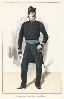 Страж тишины в парадной форме эпохи Второй империи (1852-1870 гг.). Ville de Paris. Histoire des gardiens de la paix. Париж, 1896