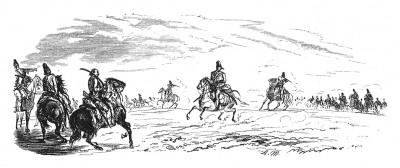 Семилетняя война 1756-1763 гг. Прусская кавалерия в сражении при Лобозице 1 октября 1756 года. Илл. Адольфа Менцеля. Geschichte Friedrichs des Grossen von Franz Kugler. Лейпциг, 1842, с.304