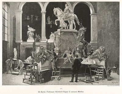 Профессор Рейнгольд Бегас в своей мастерской (рядом с памятником кайзеру Вильгельму). Moderne Kunst..., т. 9, Берлин, 1895 год.