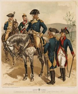 Война за независимость США 1775—1783 гг. Командующий, адъютант и офицеры армии США в 1779-83 гг. (лист 3 серии хромолитографий конца XIX века, посвящённых военной форме. Изд. в Нью-Йорке силами генерал-квартирмейстера армии США)