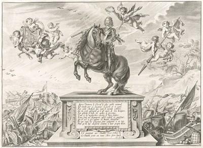Фронтиспис первого (1658 год) издания бестселлера XVII века La Méthode Nouvelle et Invention extraordinaire de dresser les Chevaux... герцога Ньюкасла (опубликовано в Антверпене. Конный портрет автора в центре)